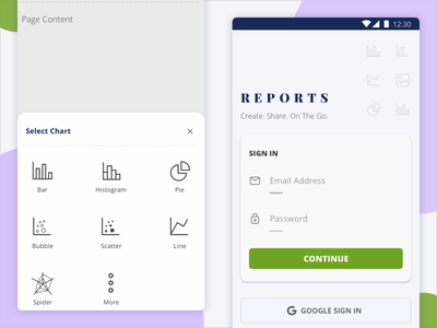 FREE UI KIT | Reports App ios mobile clean screen login sign in kit design icons illustration xd material design android freebie colors cards app sketch kit ui free