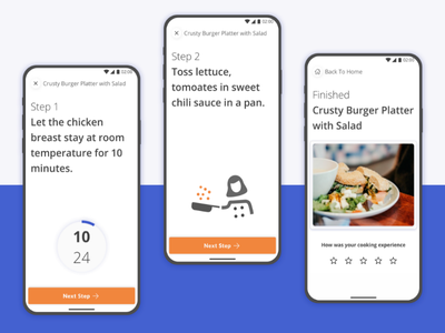 Yum Yum App (1/2) | Guided Food Recipes | Concept food recipe app mobile app clean material design ios android food app kitchen cooking