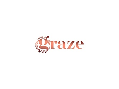 World of Graze monogram serif elegant gradient grazing box grazing table cheese platters dessert boxes vine grazing charcuterie rose gold