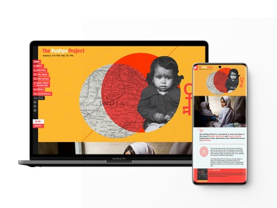 The Pushpa Project colorful minimal storytelling parallax female one page website one page design css html donation music indian india non-profit development website one page