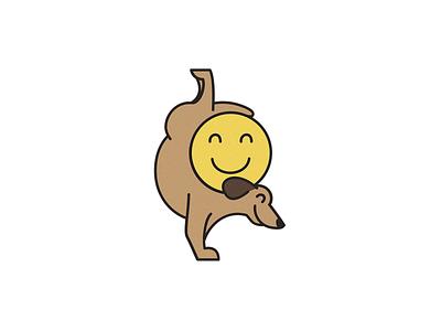 Happy Dog = Happy Human mental health vector design minimal flat dogs dog logo dog illustration happy smile daschund dog