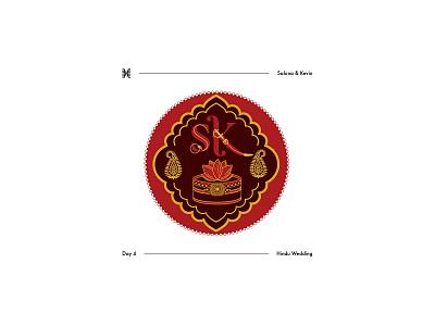 Day 4: Hindu Wedding monogram modern red gold green antique silver marigold palla wedding ring havan dholki wedding design indian wedding sangeet henna mehndi haldi sikh wedding hindu wedding