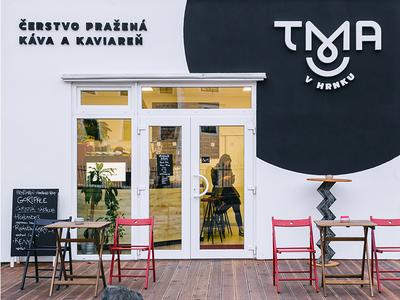 Logotype for a coffee shop Tma v Hrnku minimal simple black  white coffeeshop coffee logotype typography identity logo