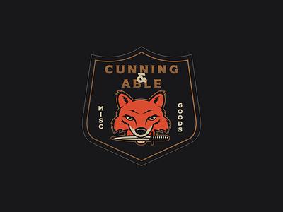 Cunning & Able badge knife fox illustrator logo branding