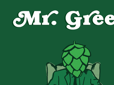Mr Green vector hand drawn green hops poster beer label
