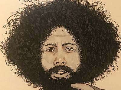 Inktober - Reggie Watts drawing ink inktober