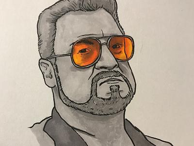 Inktober - Walter Sobchak marker brush pen illustration inktober