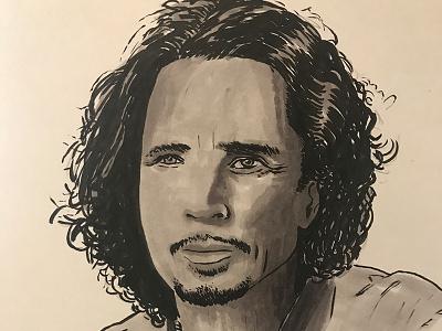 Inktober - Chris Cornell marker brush pen illustration inktober