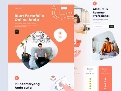 Creating Online Portofolio - Exploration headlines bold web design landing page hero desktop curvy fun portofolio illustration
