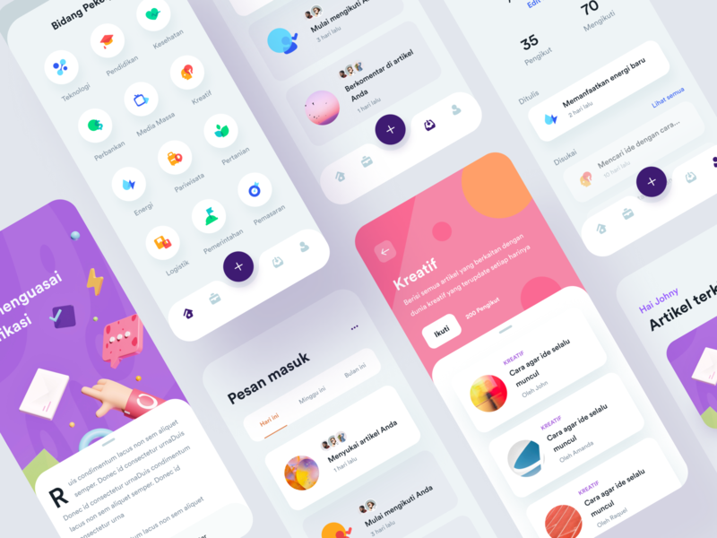 Job App UI & Icon Exploration illustration topic mobile category settings profile articles icons platform discussion job cards exploration ui ios app 3d