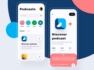 Podcasts App - Exploration home cover detail podcast podcasts iphone app userinterface icon design mobile ui exploration