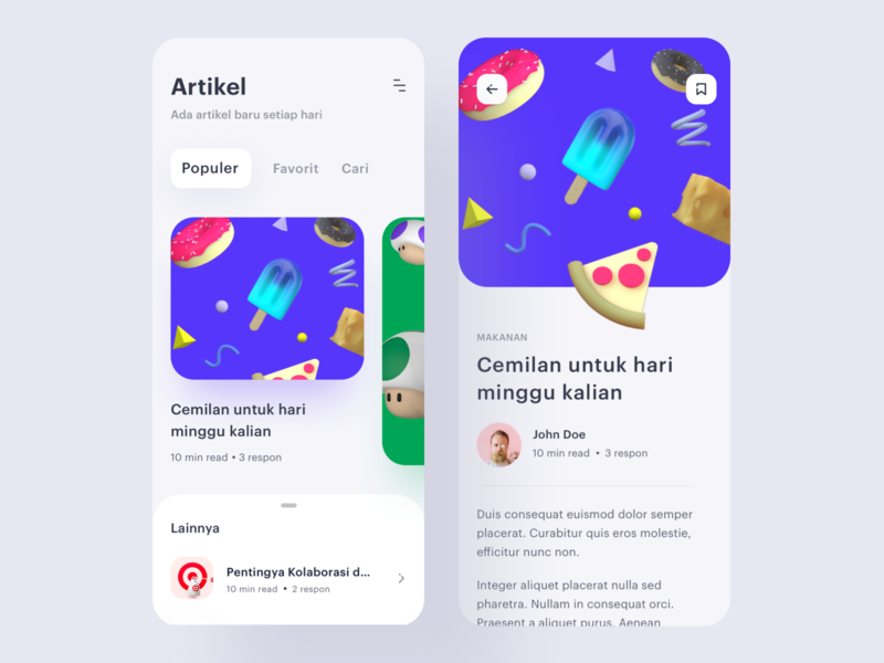 Article App - Exploration ios uidesign mobile ui ice cream pizza food c4d illustration daily userinterface exploration ui detail article app 3d