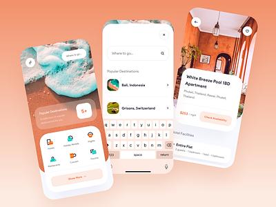 Travel App - Exploration cards goods booking concept travel app traveling app userinterface design icon mobile exploration ui