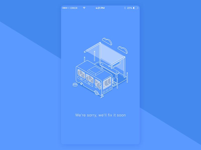Error page.... ux ui design daily blue shoot page fix error bus illustration isometric
