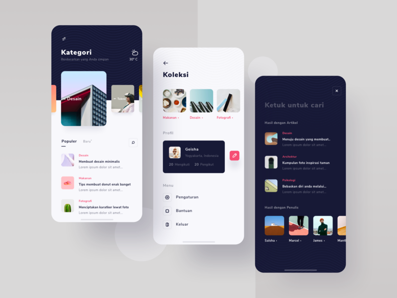 Article App Exploration search profile category page minimalist ios 12 card icons explorations ui  ux mobile article app