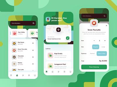 Drink Order App - Exploration ui design detail exploration map line illustration icons cards app mobile ux ui design tea order coffee pattern