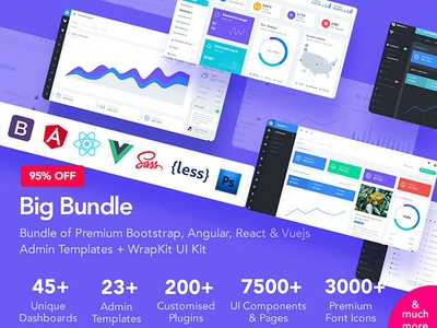 Big Bundle of 23 Premium Admin Templates + WrapKit UI Kit