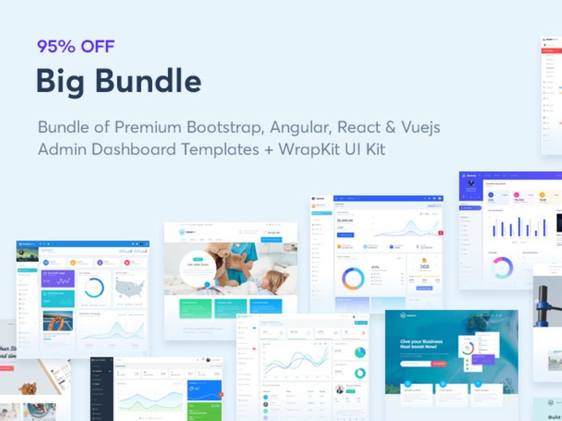 95% Off on Big Bundle by WrapPixel minimal modern logo design vuejs react bootstrap dashboard angular admin admin template