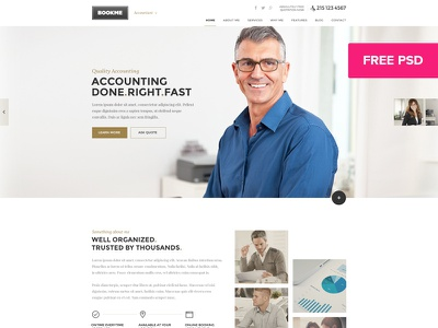 Book Me - FREE PSD template for Accountants modern clean minimal accounting firm accountants agency business chartered accountant accounting accountant