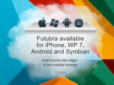 The announcement of Futubra mobile apps banner cloud