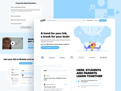Landing Page for Parents on Brainly offer sales information educational content subpage blue user inteface landing page design new account join pairing illustration clean white education parents ui informative landing page