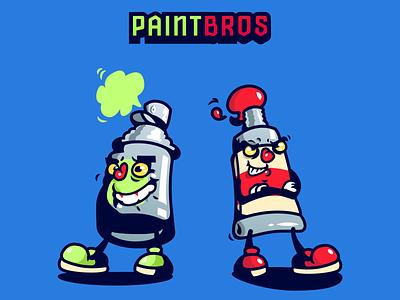 Paint Bros graffiti tube can spray bros paint illustration
