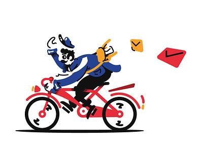 Mailman Illustration progress poster envelope riding bike de stijl vintage illustration mailman mail