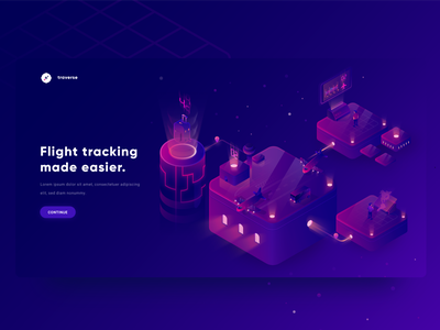 Flight Tracking Illustration travel boxes holograms lights gradients contrast plane isometry isometric modern flying airport planes vector design car blue illustration gradient