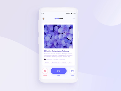 Quickread - news article filter app article page reading list books reading app reading google now swiping news articles gradient ux-ui uidesign interaction swipe tinder app purple blue