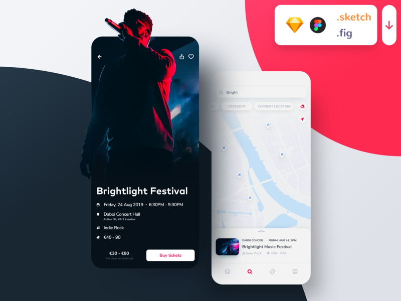 Event Booking App Freebie musical singer photo dark white events seats concert buying booking event tickets map music sketch figma download freebie uiux ui