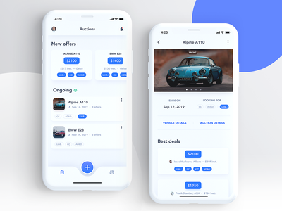 Dashboard and Offers – Insurance Search App offer loan finance blue and white blue cars garage insurance ongoing cards uiux uxui ui vehicles vehicle driving motorbikes motorbike engine auction