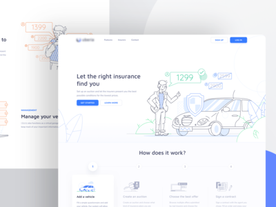 Landing Page - Insurance Search App elegant person prices steps blue and white search insurance cars uiux ui header website blue vehicle simple outline car illustration landing page offer