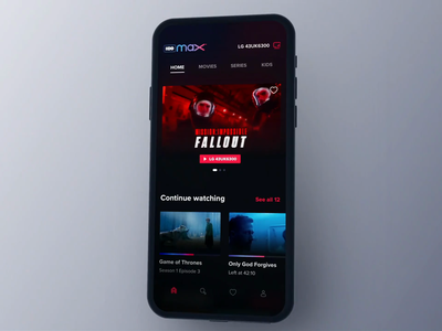 HBO Max Companion App Animation fluid 3d animated interaction animation videos blur tv watching imdb series movies dark mode airplay remote vod service streaming hbo netflix