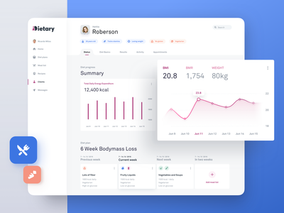 Diet Monitoring Tool - Client Overview Dashboard clean dashboard minimalistic white ui simple ui clean interface cooking restaurant healthcare iconset boxes diet app summary dashboard medical calories food health healthy eating healthy diet