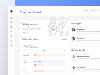Diet Monitoring Tool - Dietician's Dashboard clear texture white theme sections cards minimalistic colorful web app whitespace healthy eating calories meals planner eating diet clean dashboard white ui clean ui dashboard illustration