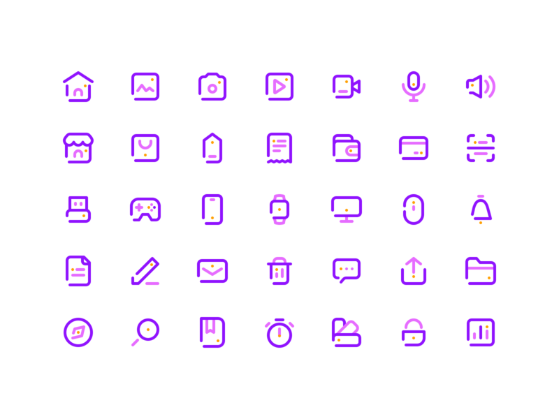 35 Simple Line Icons - Free Set - 💎.sketch freebie free dowload line icon ios color design sketch icons set ui