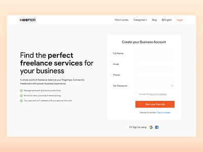 Hooper Website Freelancing chennai minimal colors uidesign freelance gradient form formdesign ui
