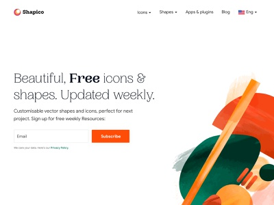 Shapico Hero section fields chennai hand drawn shapes landing page website ui typography minimal colors
