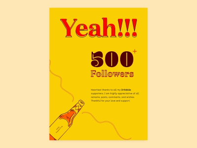 500 + Followers thanks thankyou poster thanksgiving poster art poster design colors typography dribbble celebrate minimal poster