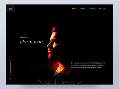 Portfolio visualdesigner editing portfolio black portrait studio chennai colors landing page ui typography minimal