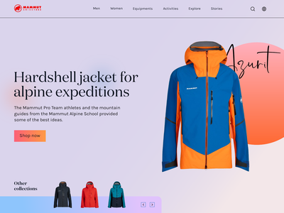 Mammut Page Exploration fresh colors navigations offers buy ecommerce mammut jackets shopping shop gradients landing page ui typography minimal colors