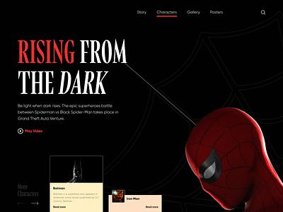 Characters Layout Exploration colors black landing page chennai studio marvel dc avengers ui typography minimal