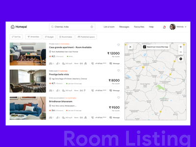 Rooms Listing Screen xd affinity photos location map friend list web roommates rooms ux love colors typography chennai design ui minimal