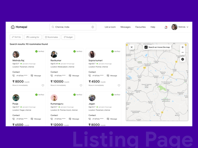 Listing Page mapping profile roommate searching zoom budget filter sort chennai help contact friends search location map design ui minimal colors