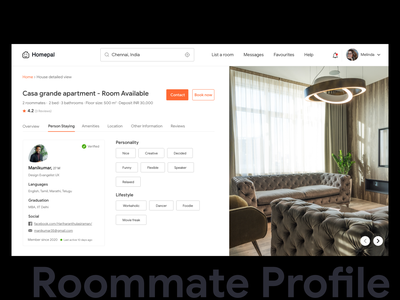 Roommate Profile apartment chennai buttons images pixabay pexels tabsicons product googlesans typography branding minimal colors ui