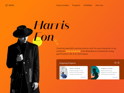 Harris Eon  Portfolio augmentedreality virtualreality gamification playful bold visual hireme projects casestudies navigation accessibility gradients colors love fashion design ui minimal typography