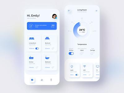 Smart Home - Skeuomorphism UI Design control panel controller home smart skeuomorphism smart home sketch mobile design app ui exploration