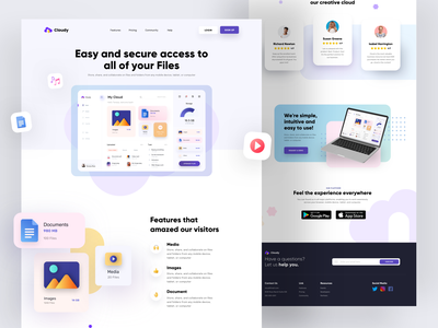 Cloudy Landing Page - Exploration cloud app clouds web illustration landing page website exploration sketch minimalist design app ui