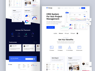 CRM Landing Page UI Kit landing page cms crm dashboard app design minimalist website exploration sketch ui kit branding