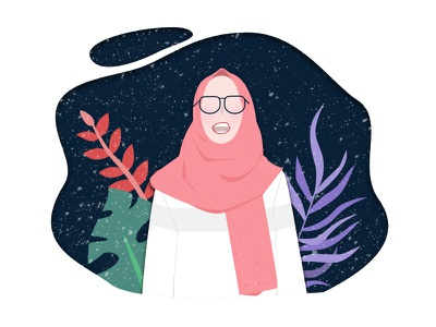 Girl With Her Random Mind flat character vector scarf glasses hijab plant space illustration texture